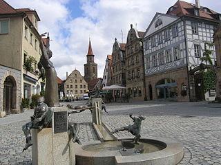 Fürth - Marktplatz mit Gauklerbrunnen