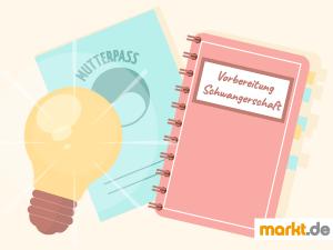 Bild Mutterpass, Notizbuch und Glühbirne