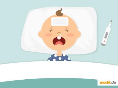 Bild weinendes Baby mit Fieberthermomenter