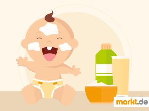 Bild Baby mit Babypflegeprodukten
