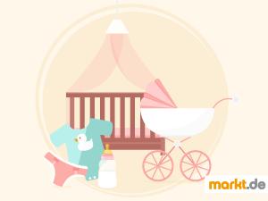 Bild Kinderbett, Kinderwagen und Kinderkleidung