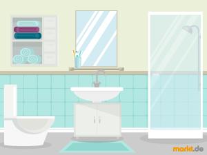 Kleines Bad Einrichten. Grafik Digitales Badezimmer
