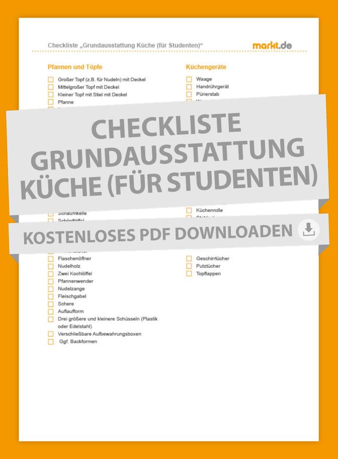 Checkliste Grundausstattung für die Küche