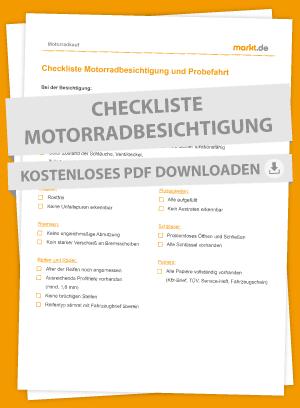 Motorradbesichtigung und Probefahrt Checkliste