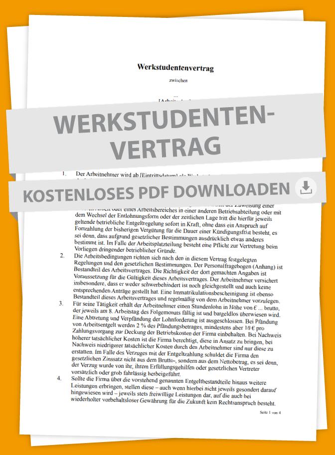 Werkstudenten Mustervertrag Marktde