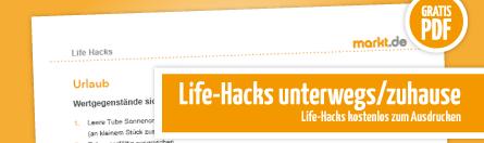 Grafik Anleitung Life Hacks für unterwegs / zuhause