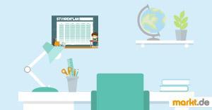 Grafik Schulschreibtisch mit Stundenplan