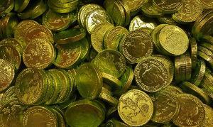 Bild Goldmünzen aus Schokolade