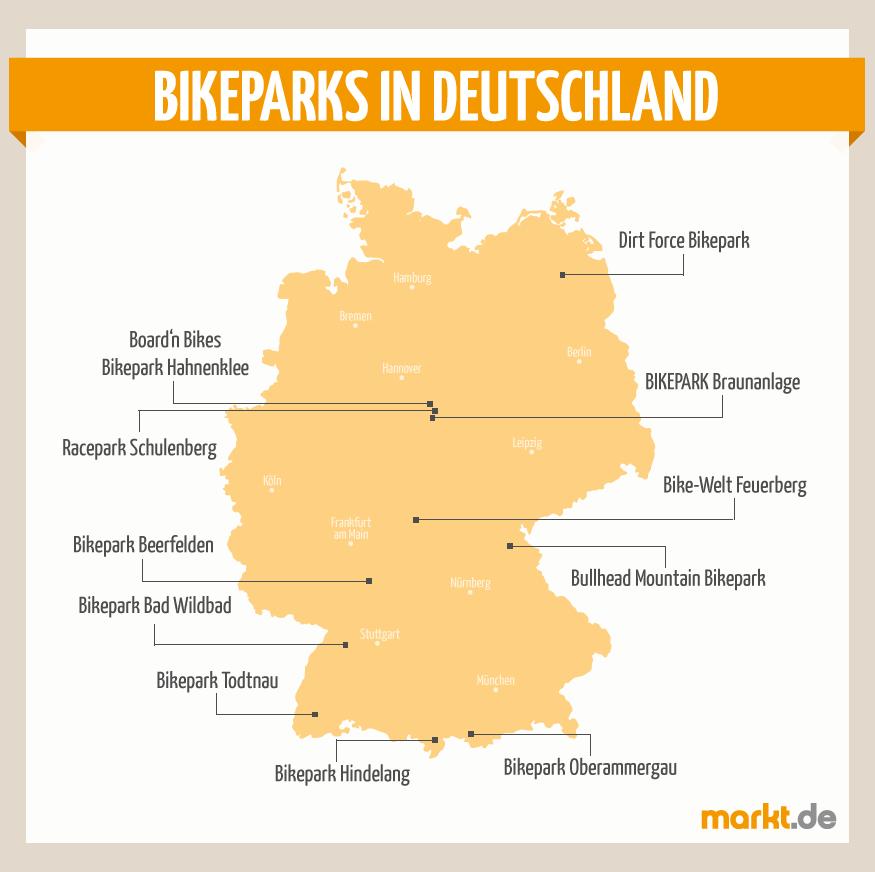 bikeparks deutschland karte Bikeparks in Deutschland | markt.de