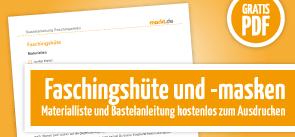 Grafik Download Faschingshüte und -masken Bastelanleitung