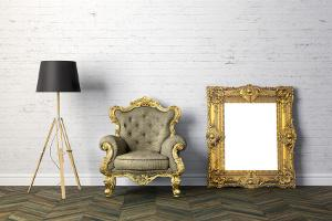 Bild Lampe, Spiegel und Sessel
