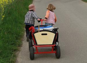 Bild Kinder mit Bollerwagen