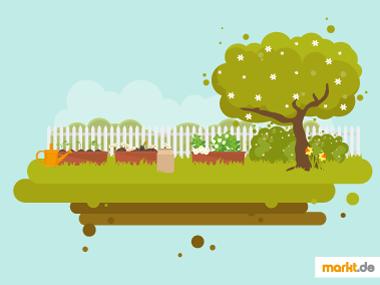 Grafik Gartenarbeit im Frühjahr / Frühling