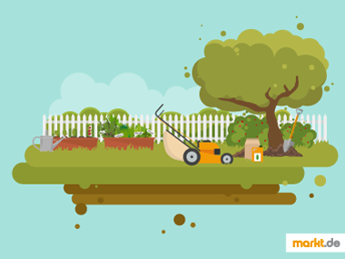 Grafik Gartenarbeit im Sommer