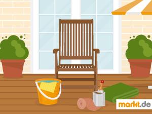 Grafik Gartenmöbel mit Pflegezubehör