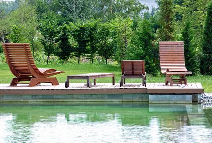 Bild Schwimmteich mit Gartenliegen