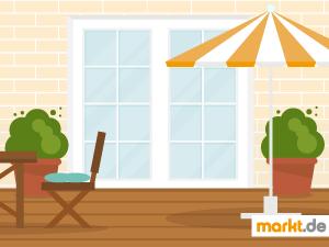 Grafik Terrasse mit Möbeln und Schirm