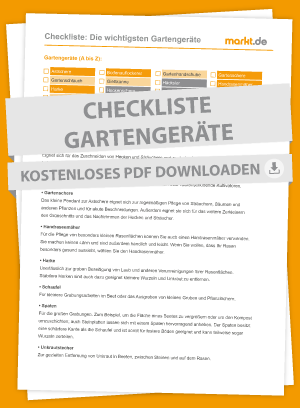 Checkliste der wichtigsten Gartengeräte als PDF