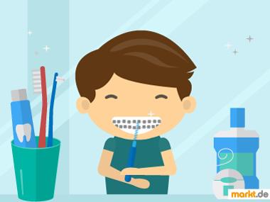 Grafik Zahnspange reinigen