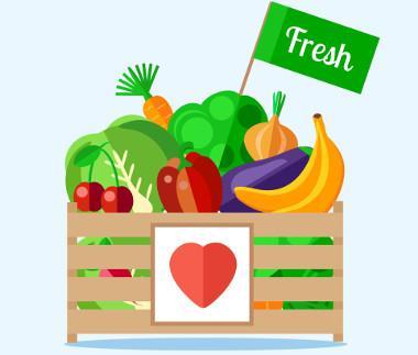 Bild Kiste mit Obst und Gemüse
