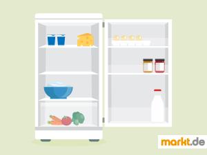 Bild offener, gefüllter Kühlschrank