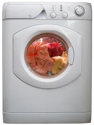 Bild weiße gefüllte Waschmaschine