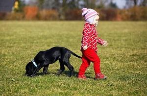 Kind und Hund.