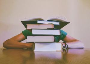 Bild Mensch hinter einem Stapel Bücher
