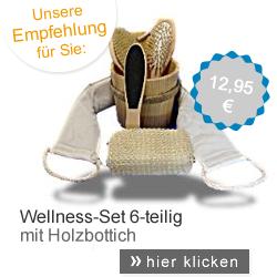 Wellness-Set mit Holzbottich