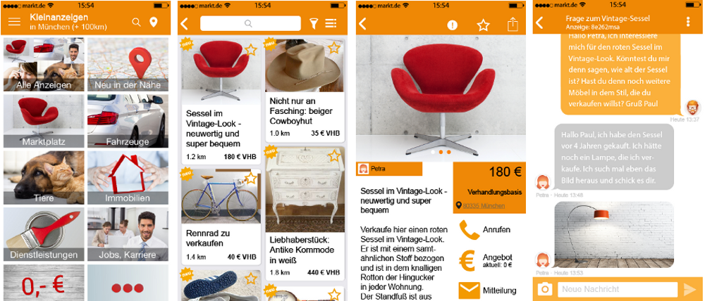 Screenshots markt.de App iOS