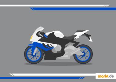 Bild blau, weiß, schwarzes Motorrad