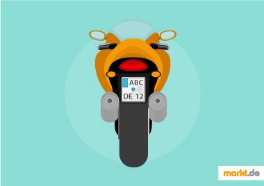 Bild oragnes Motorrad von hinten mit Kennzeichen