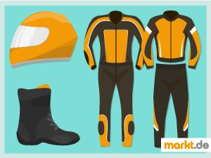 Bild Motorradkombi, Schuhe und Helm