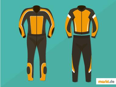 Bild orange schwarze Motorradkombi und Motorradjacke mit -hose