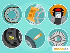 Bild Motorradkette, Bremse, Kennzeichen, ABS, Reifen und Kardanwelle