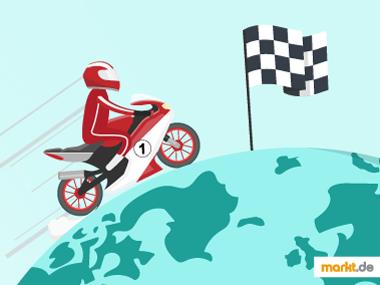 Bild Motorrad auf einer Weltkugel mit Zielfahne