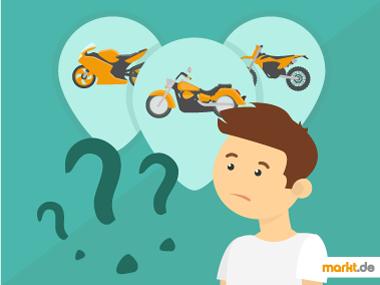 Grafik Junge mit verschiedenen Motorrädern in Gedankenblasen