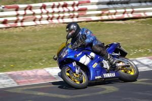 Bild blaue Rennmaschine von Yamaha