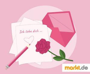 Grafik Liebesbrief mit Rose