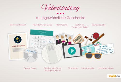Grafik verschiedene Valentinstagsgeschenke