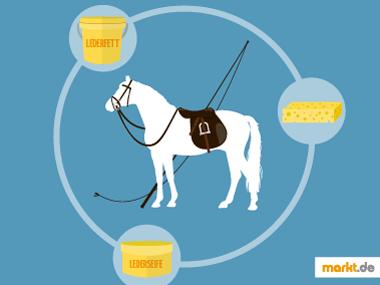 Pferd mit Sattel und Reinigungsartikel