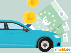 Bild hellblaues Auto mit drei grünen Geldscheinen im Hintergrund