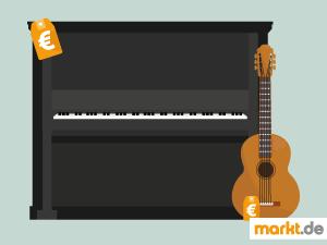 Bild schwarzes Klavier und braune Gitarre