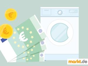 Bild weiße Waschmaschine und drei grüne Geldscheine