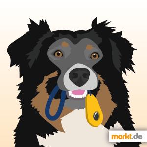 Grafik Hund mit Clicker im Maul