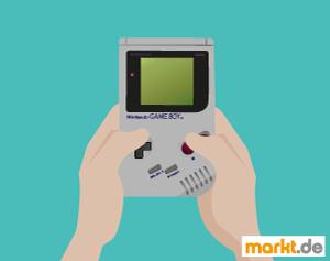 Grafik Hände beim Game Boy spielen