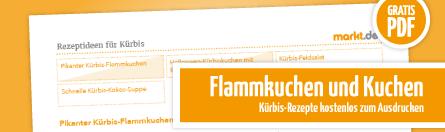 Grafik Rezepte für Flammkuchen und Kürbiskuchen