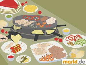 Bild Tisch mit Raclette und Beilagen