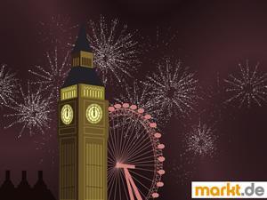 Bild London Eye, Big Ben und Feuerwerk