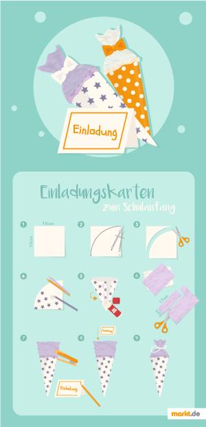 Grafik/Bastelanleitung Einladungskarte in Schultütenform